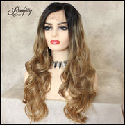 Ombre Blonde Dark Roots Wavy Synthetic Lace Front Wig