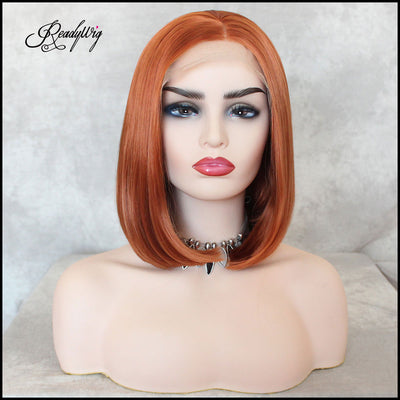 Orange Short Short Hair Synthetic Lace Front Wig
