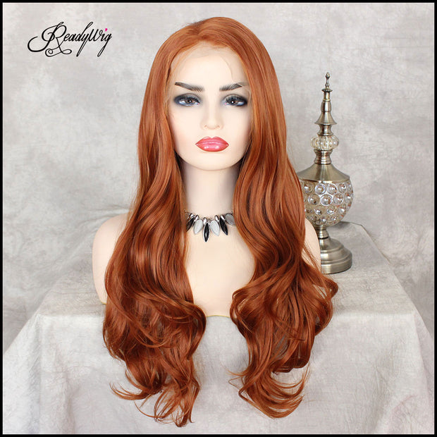 Orange Red wig Hand Tied lace front high temperature Kanekalon fiber synthetic wig