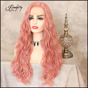 Lace Front Wigs Long Pink Body Wave Wig, Glueless Synthetic Full Wig with Natural Body Wave for Women Girls