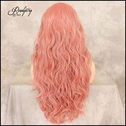 Pink Heat Resistant Synthetic Wig Long Wavy Curly Centre Parting Full Head Cosplay Costume Hair Wig for Women