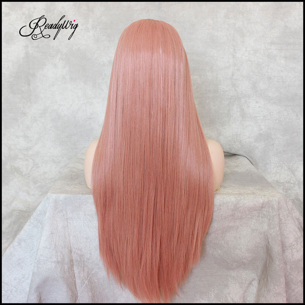 Fashion Pink Front Lace Wigs Long Straight Synthetic Hair Wig for Women Heat Resistant Fiber Hair