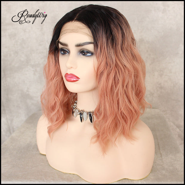 Lace Front Wigs Short Pink Body Wave Wig, Glueless Synthetic Full Wig with Natural Body Wave for Women Girls