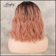 Pink Heat Resistant Synthetic Wig Long Wavy Centre Parting Full Head Cosplay Costume Hair Wig for Women