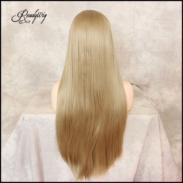 Ombre Blonde Glueless Lace Front Wigs 2 Tone Color,  Long Natural Straight Heat Resistant Synthetic Hair Wig