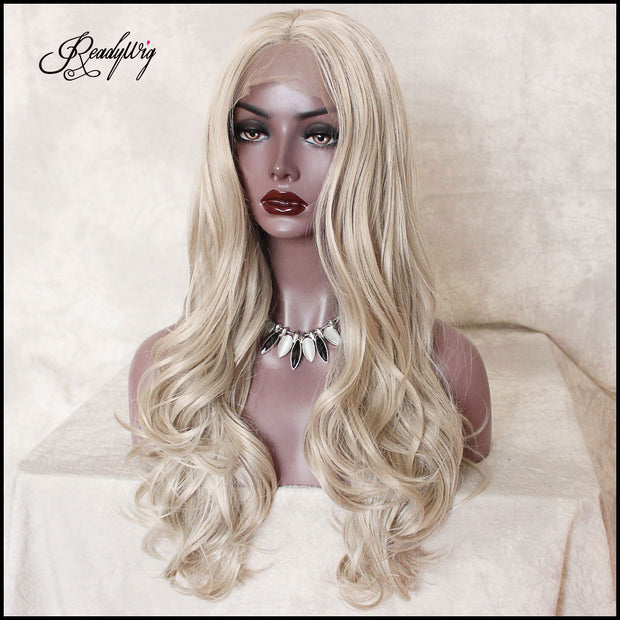 Platinum Blonde Wavy Synthetic Lace Front Wig Center Part