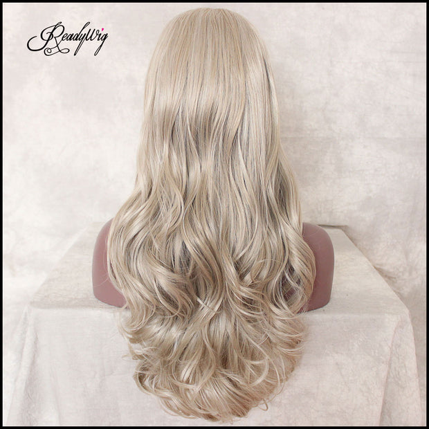 Long Wavy Synthetic Lace Front Wigs for Women Ombre Blonde Natural Hair Replacement Wigs