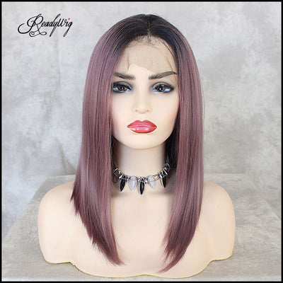 Purple Short Lace Wigs Pre Plucked for Black Women