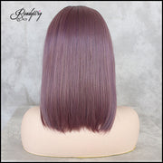 Short Short Wigs Natural Straight Hair Middle Part Mixed Lavender Violet Purple Color High Temperature Synthetic Lace Front Wigs