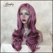 Purple Color Long Wavy  matte realistic Synthetic Lace Front Wig