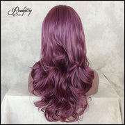 Glueless Purple Lace Front Wigs Long Natural Loose Wavy Hairstyle Synthetic Wig Heat Resistant Fiber for Women Girls
