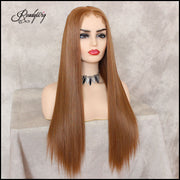 Strawberry Blonde Lace Front Wig Natural Looking Silky Straight Center Parting Heat Resistant Lace Glueless Fiber Wig