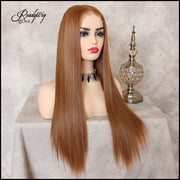 Strawberry Blonde Lace Front Wig 100% Heat Resistant Synthetic Hair Long Straight Wig for Women