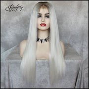White Grey Lace Front Wig bob wig Silky Straight Free Parting Heat Resistant Lace Glueless Synthetic Wig