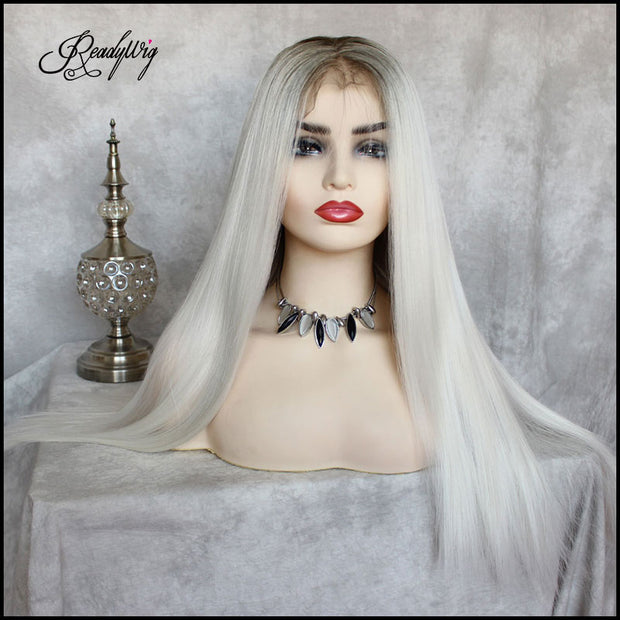 White Grey Lace Front Wig Silky Straight Free Parting Heat Resistant Lace Glueless Synthetic Wig
