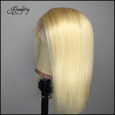 613 blonde lace front wigs short glueless natural straight half hand tied human hair wigs