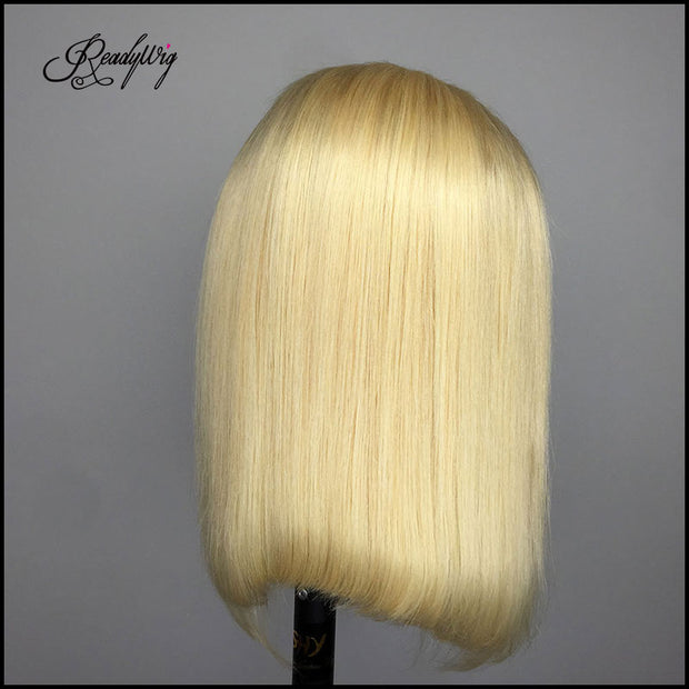 blond human hair straight wigs shoulder-length bob wig 13x4 lace front,13x6 lace front, full lace wig