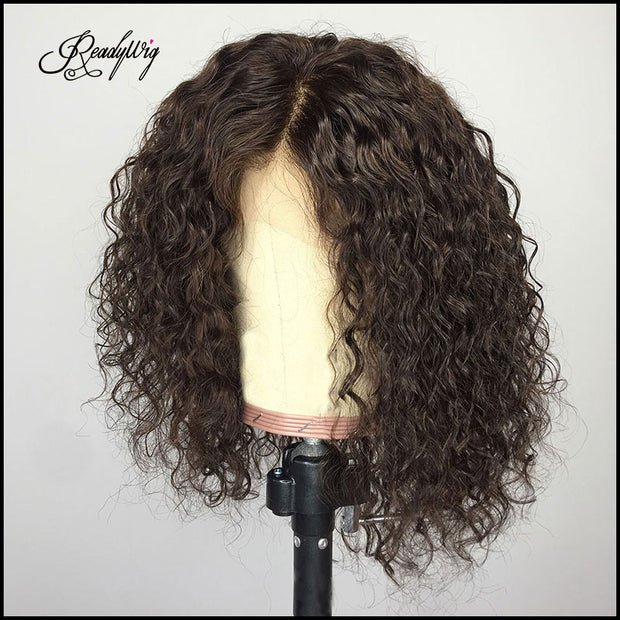 """short curly hair wig, 100% unprocessed human hair Lace part wig 360 deep part swiss lace wigs"""