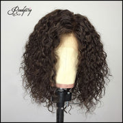 brown curly wigs short wig glueless lace frontal human hair wig with natural looking