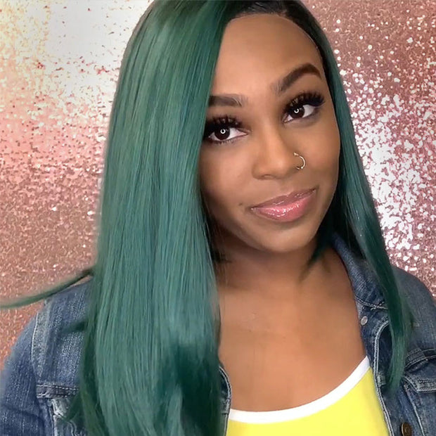 ReadyWig Green Dark Roots Short Hair Synthetic Lace Front Wig 16 Inches