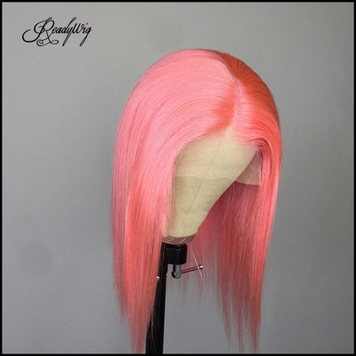 trendy and summer pink wig short human hair wig invisible lace front wig for hot girls