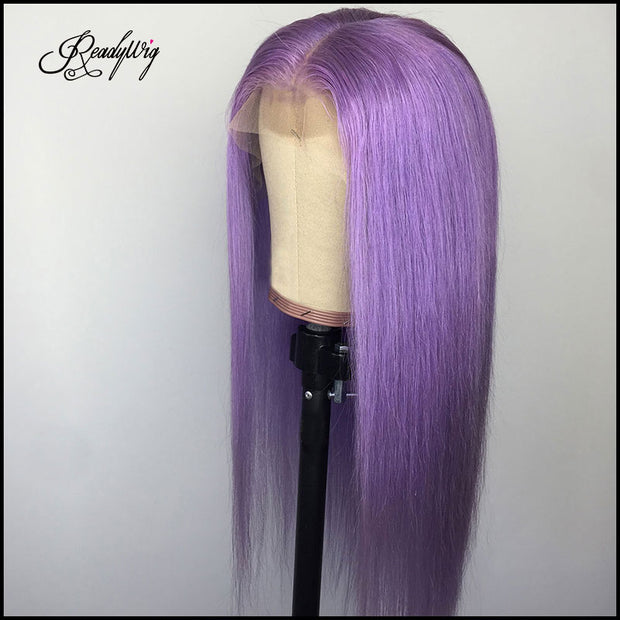 straight long silky purple color wig Remy human hair wig swiss lace front wig for black women