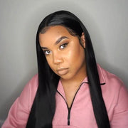 ReadyWig Black Yaki Straight Hair 13*6 Lace Front Synthetic Wig 24 Inches