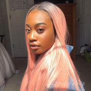 pink color long straight synthetic wig with transparent lace