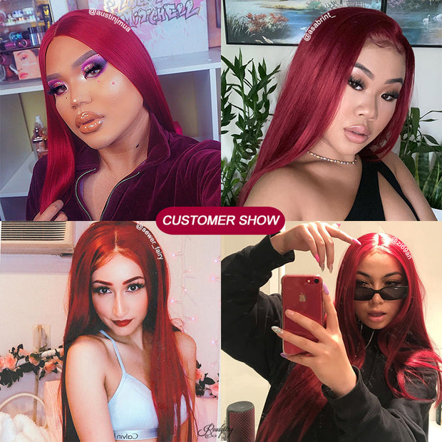 Red Lace Front Wig Natural Looking Silky wavy Free Parting Heat Resistant Lace Glueless Synthetic Wig
