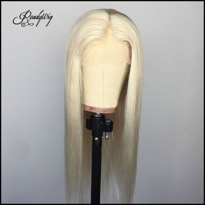 straight long silky blonde wig Remy human hair wig swiss lace frontal wig for black women