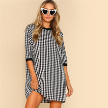 Load image into Gallery viewer, Trendy Gingham Cotton Shift Dress