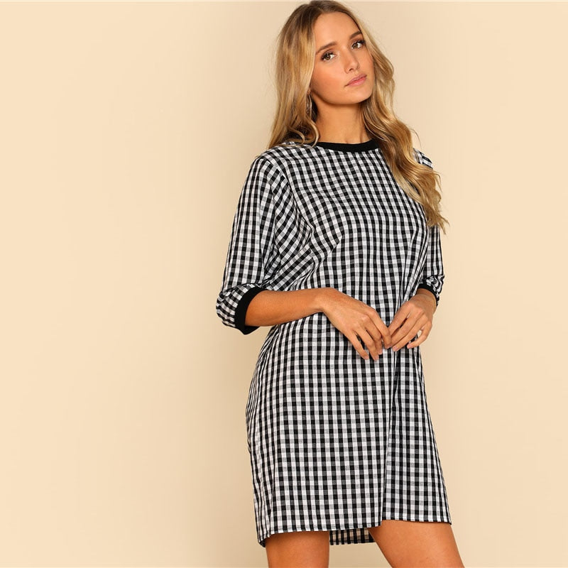 Trendy Gingham Cotton Shift Dress