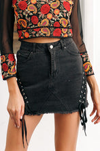 Load image into Gallery viewer, Lace Up Denim Skirt