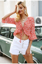Load image into Gallery viewer, Flirty Crop Ruffle Blouse