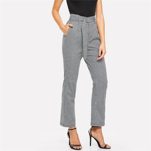 Plaid Belted Work Pant