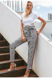 Bow Tie Plaid Stripe Pant