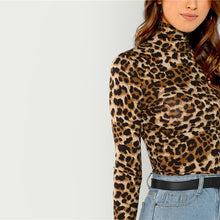 Load image into Gallery viewer, Leopard Turtleneck Fashion Top
