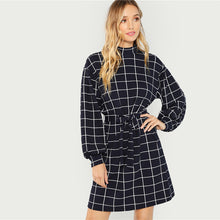 Load image into Gallery viewer, Navy Plaid Work Dress