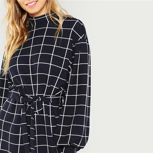 Navy Plaid Work Dress