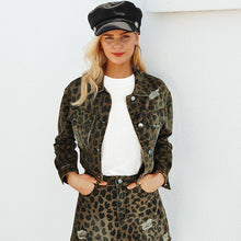 Load image into Gallery viewer, Leopard Cropped Denim Jacket