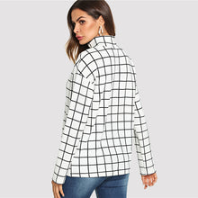Load image into Gallery viewer, Plaid Grid Mock Neck Top