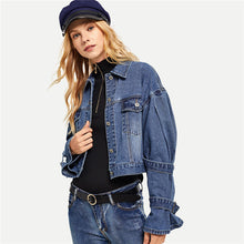 Load image into Gallery viewer, Sleeve Strap Cropped Denim Jacket
