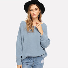 Load image into Gallery viewer, Blue Open Back Sweater