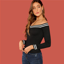 Load image into Gallery viewer, Black Stripe Off the Shoulder Top