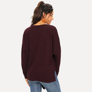 Maroon Casual Button Knot Top