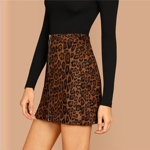 Leopard Zipper Skirt