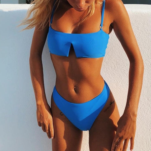Square Neck V Cut Bikini