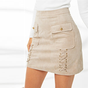 Lace Pocket Suede Skirt