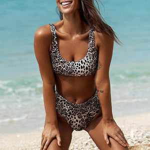 Leopard Scoop Neck Bikini