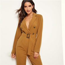 Load image into Gallery viewer, Plunging Belted Blazer Jumpsuit